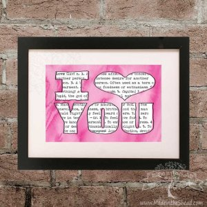 I Love You Print on Recycled Paper…unframed 4x6 or 5x7 dictionary definition of love thru pink watercolor background