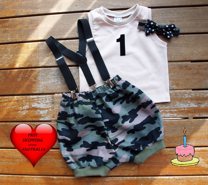 Boys 1st Birthday Outfit Cake Smash Outfit In The Army Photo Shoot Outfit Vintage Babes Australia On Madeit
