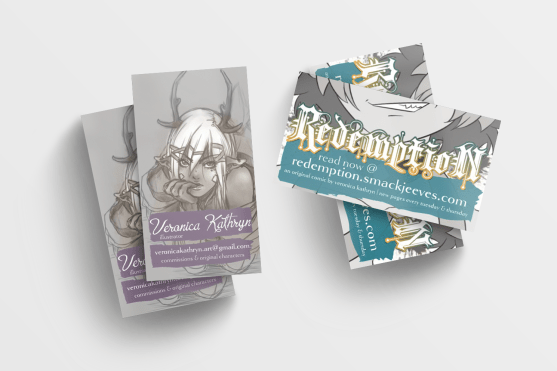Business Cards, designed for Veronica Kathryn using her own illustrations, 2016.