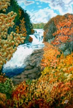 """Triple Falls"" Acrylic on wood, 48"" x 78"". 2012."