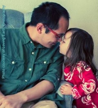 Dad and Daughter Nose Kiss
