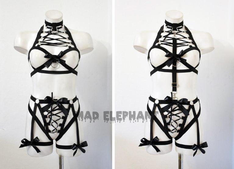 elastic harness bodysuit