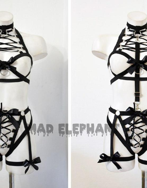 elastic harness bodysuit