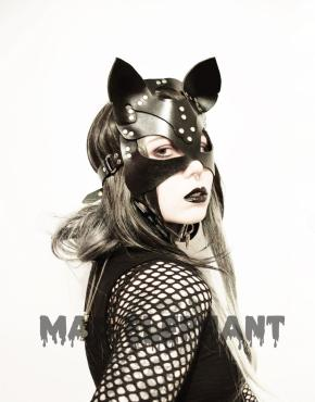 black genuine leather cat mask