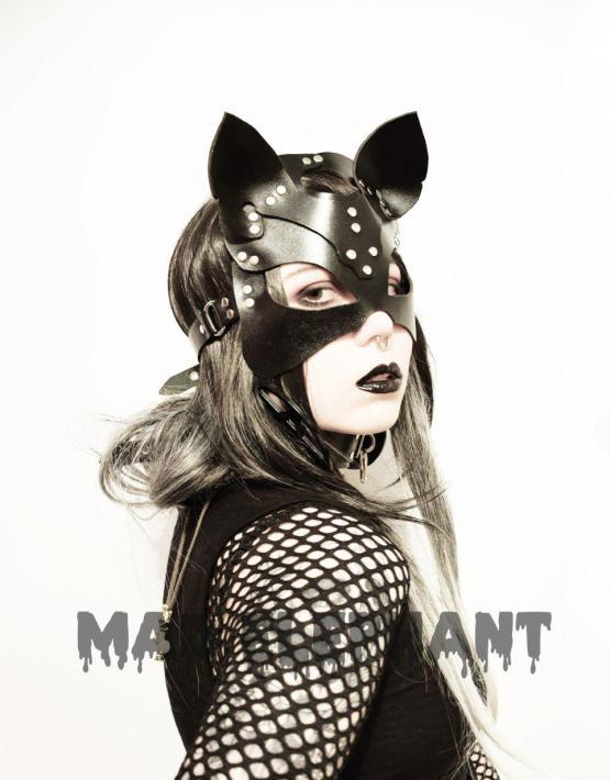 black genuine leather cat mask