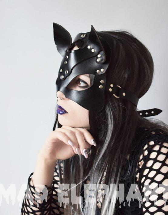 real leather cat mask