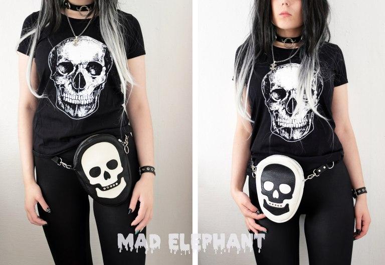 black white skull bag
