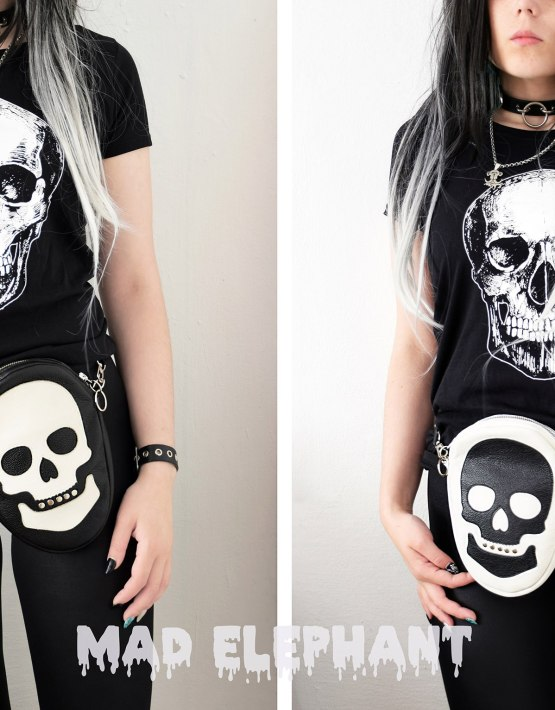 black white skull bag