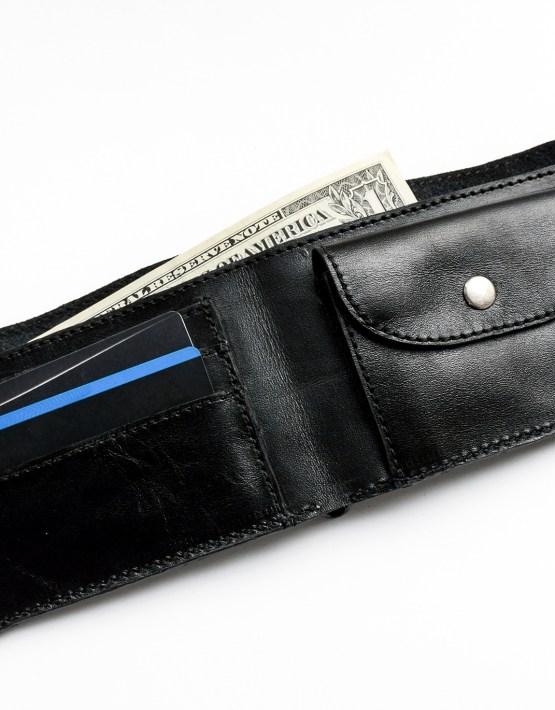 mens black leather bifold wallet