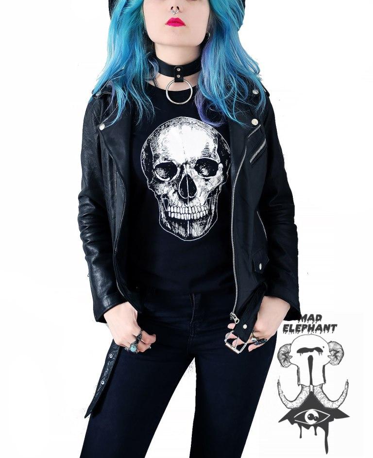 ladies black skull t shirt