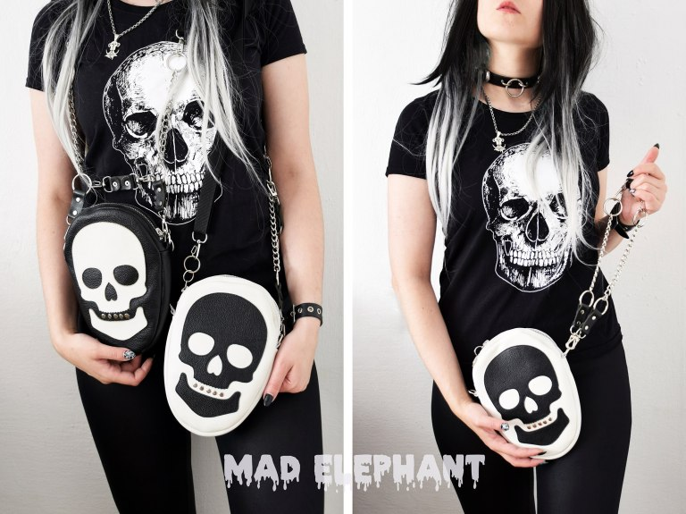black white bag with skull