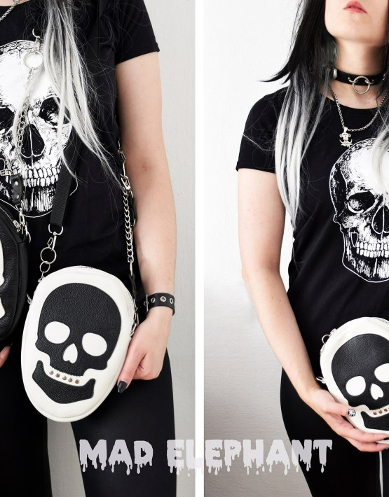black white bag with skull
