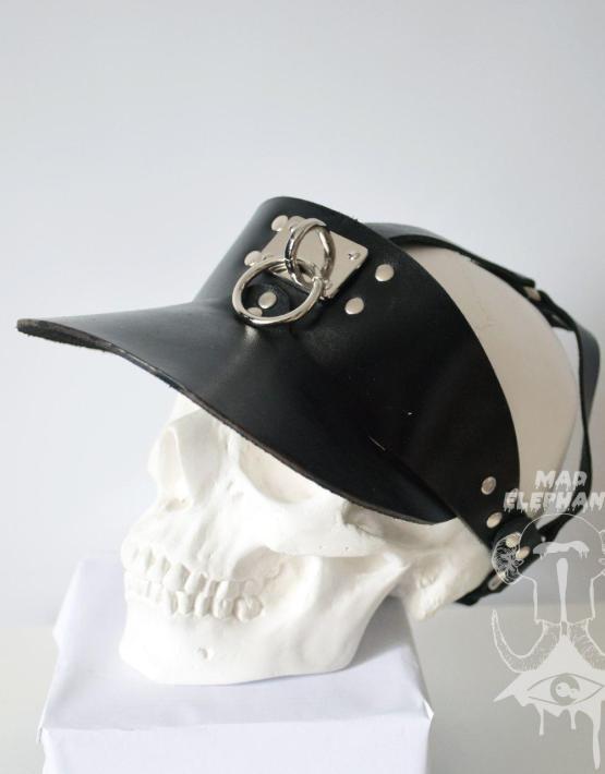 black leather visor