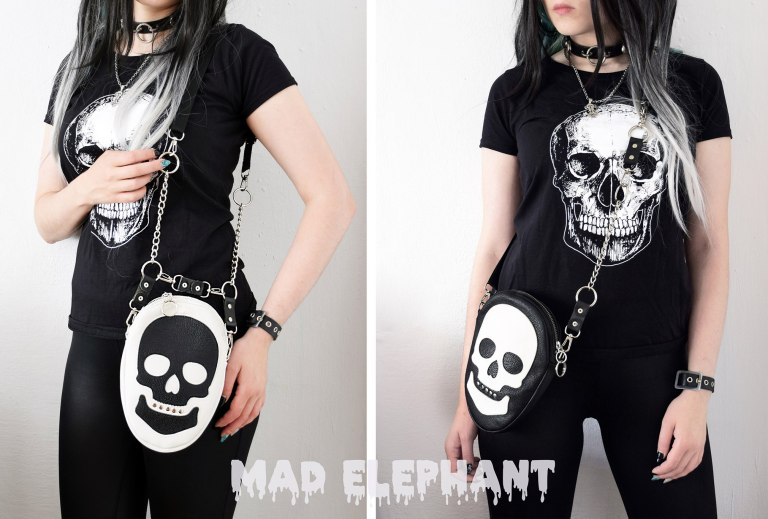 black white skull purse