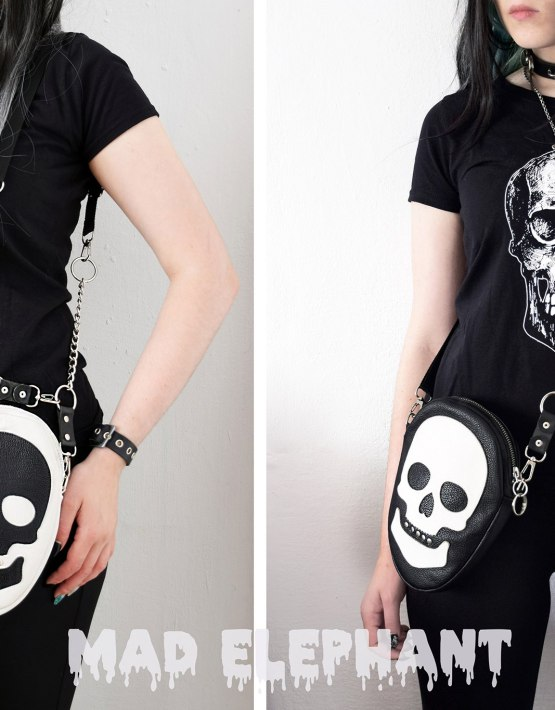 black white skull purse