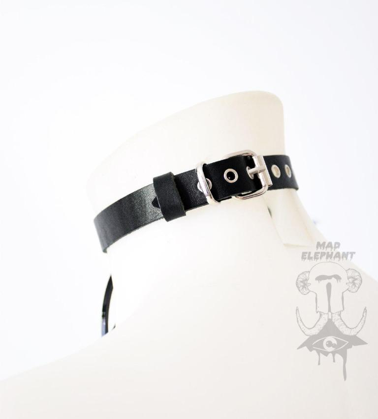 leather choker with the buckle
