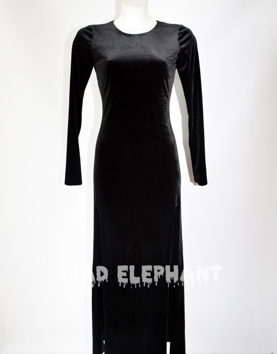 black velvet maxi dress long sleeve