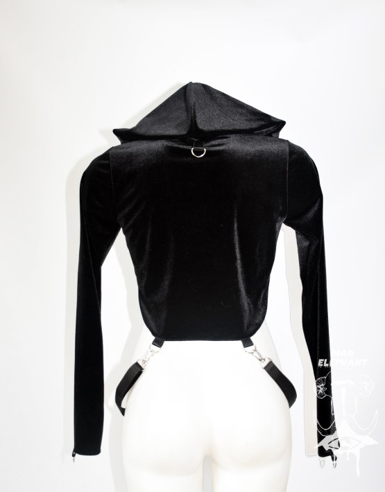 black crop top hoodie women's