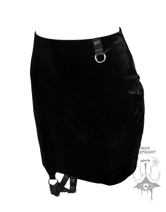 black velvet pencil skirt short