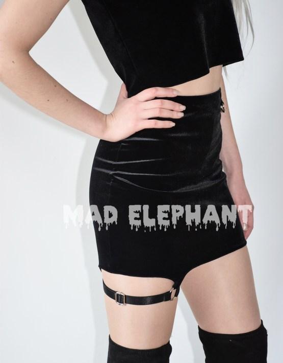 black velvet mini skirt