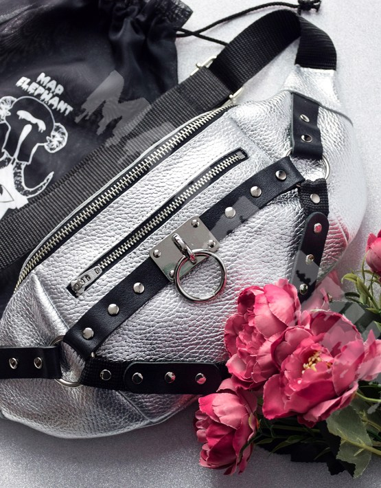 silver waist belt bag