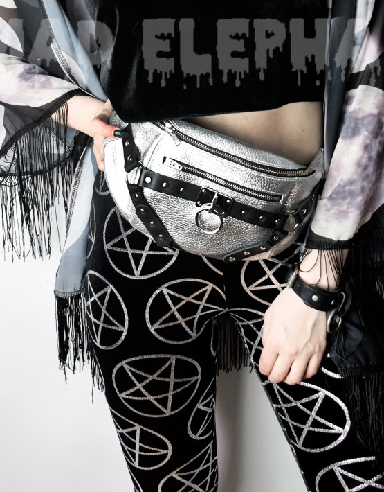 metallic silver belt bag