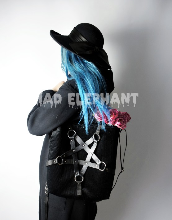 black velvet tote bag