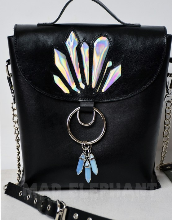 black gothic bag with moon stone