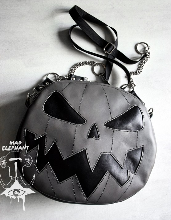 Convertible pumpkin jack o lantern purse