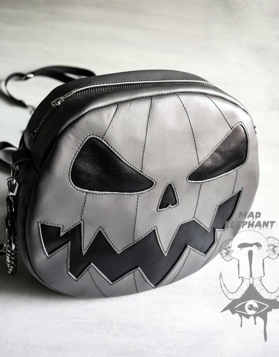 Gray jack o lantern purse