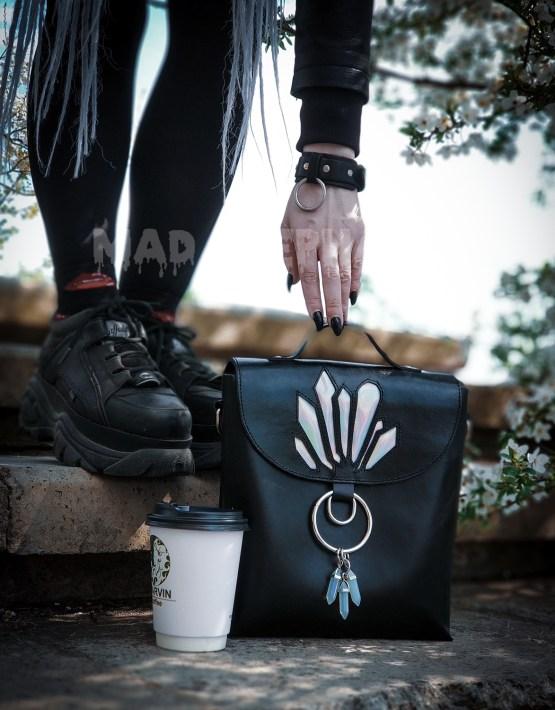 black gothic crossbody bag