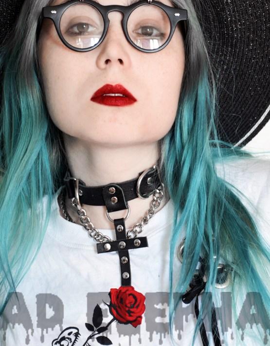 girl in leather cross choker