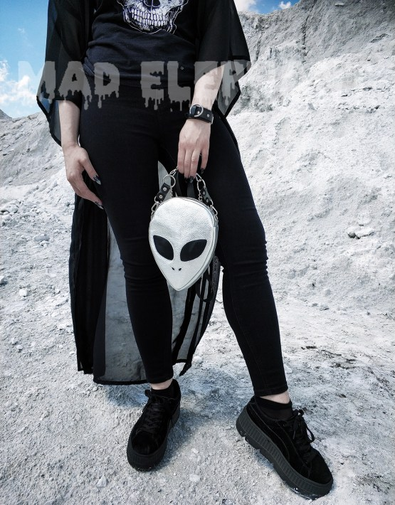 silver alien face bag