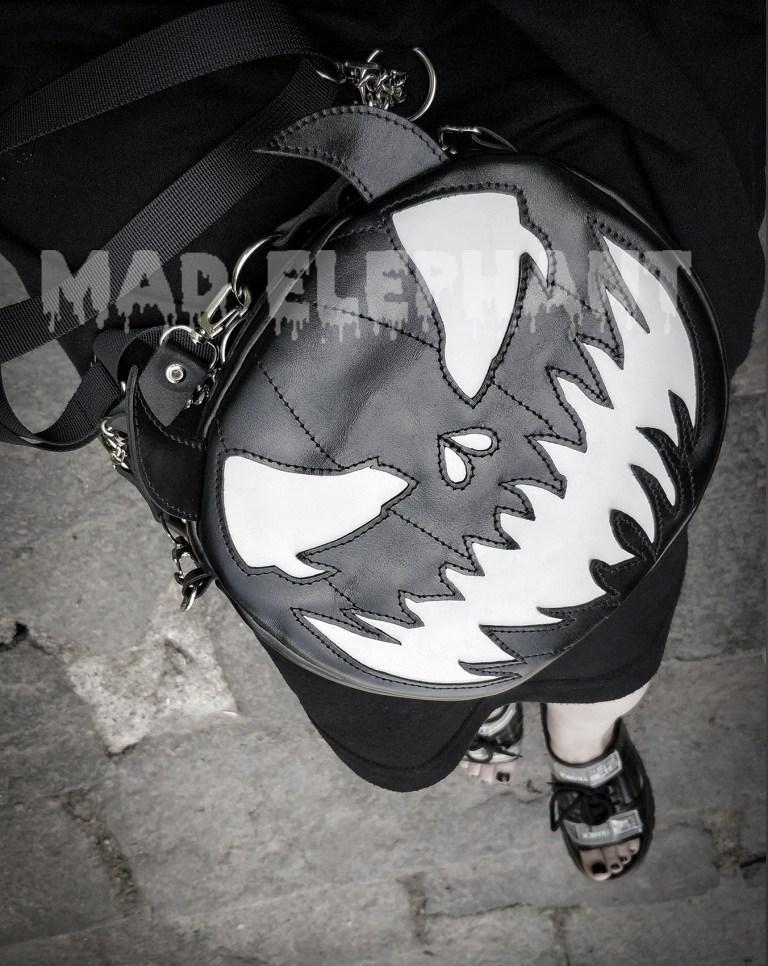 black leather pumpkin purse