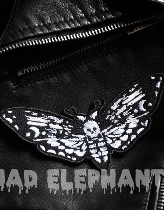 death head moth patch black white