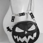 Shoulder bag pumpkin purse with glitter silver face