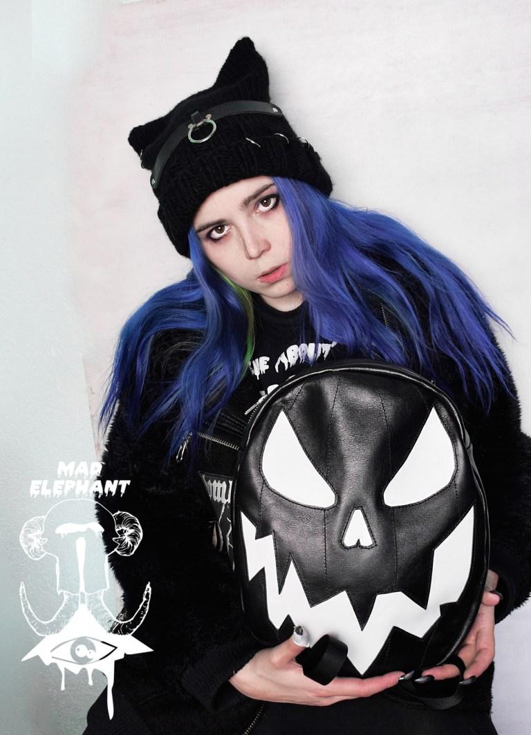 black leather pumpkin backpack