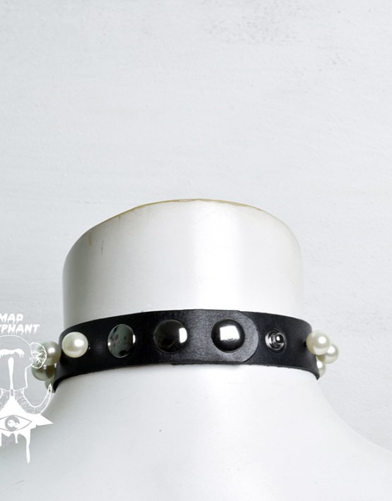 black leather choker goth