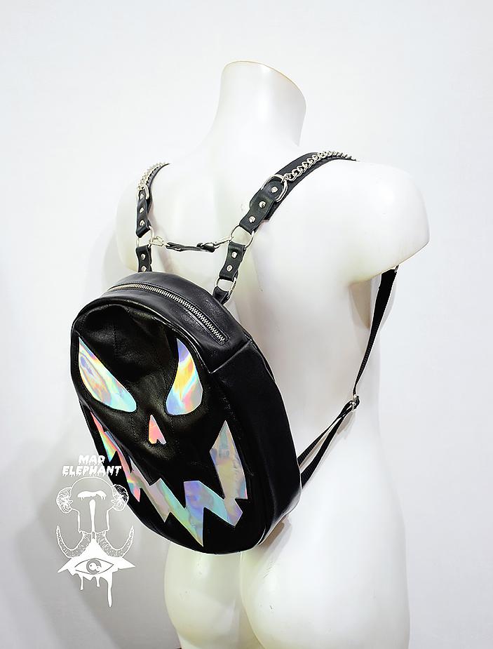 black holographic pumpkin backpack