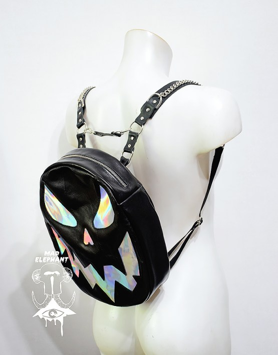 black holographic pumpkin backpack