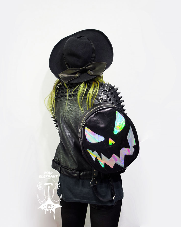 holographic pumpkin backpack leather