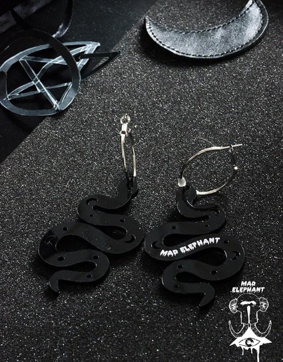 snake dangle hoop earrings