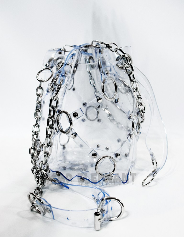 clear transparent vinyl pvc bag with chains and sword pendant