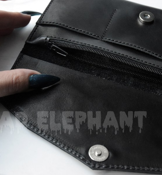 opened wallet with magnet clasp and pockets
