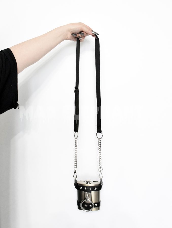 leather flask purse with chain shoulder straps