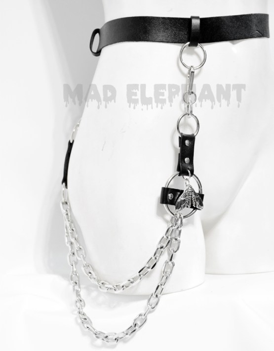 leather gothic belt with chains and moth pendant