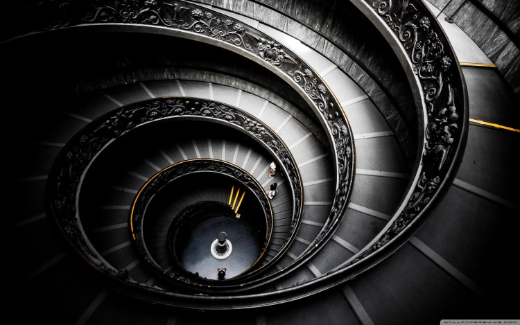 Librarian Vatican Museum's spiral staircase