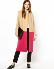 ASOS Long Line Camel Coats in Bright Colour Block