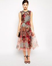 Little Mistress Printed Organza Skater Dress