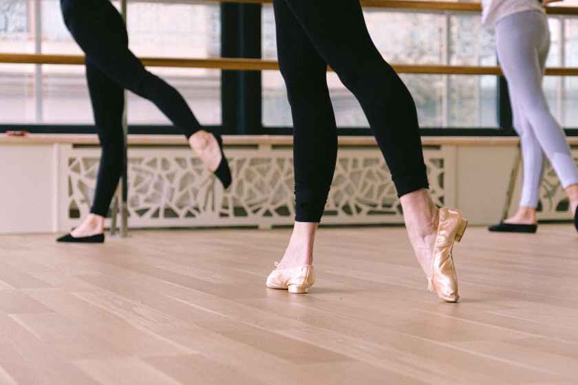 woman wearing ballet shoes